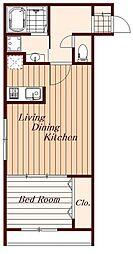 関町東新築マンション 2階1LDKの間取り
