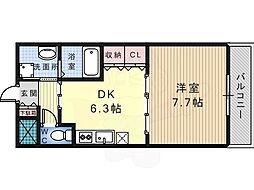 Osaka Metro御堂筋線 なかもず駅 徒歩12分の賃貸マンション 1階1DKの間取り