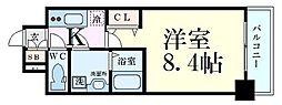 プレサンス梅田 13階1Kの間取り