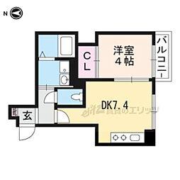 プログレーッソ西ノ京 1階1DKの間取り