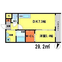 アンフィニXVIII吹田昭和町 1階1DKの間取り