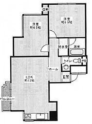 六甲ヒルコート[3階]の間取り
