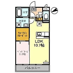 富山県富山市下奥井一丁目の賃貸アパートの間取り