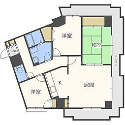 シャンボール大通第2[8階]の間取り