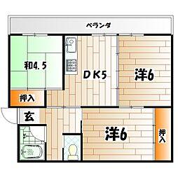 ビレッジハウス白野江[4階]の間取り