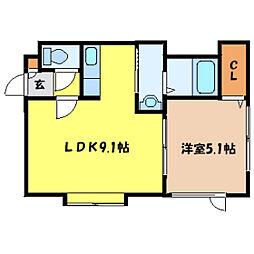 北海道札幌市中央区北五条西21丁目の賃貸アパートの間取り