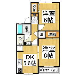 パルデンス金塚B棟[2階]の間取り