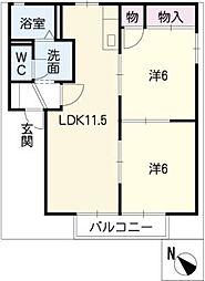 シャトーファンシーC棟[1階]の間取り