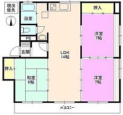 長野県長野市三輪8丁目の賃貸マンションの間取り