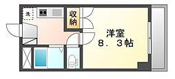 岡山県岡山市北区岡町の賃貸マンションの間取り