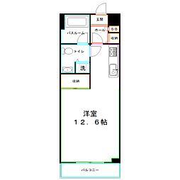 JR中央本線 東小金井駅 徒歩10分の賃貸マンション 1階ワンルームの間取り