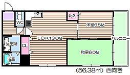 大阪府大阪市北区天満橋2丁目の賃貸マンションの間取り