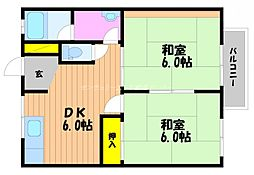 岡山県岡山市北区西古松1丁目の賃貸アパートの間取り