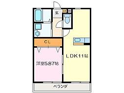 クラウドIII A棟[2階]の間取り