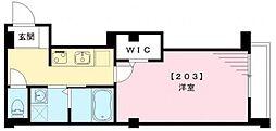 京急空港線 大鳥居駅 徒歩3分の賃貸マンション 2階1Kの間取り