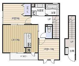 大阪府八尾市安中町8丁目の賃貸アパートの間取り