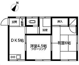 東京都江戸川区船堀6丁目の賃貸アパートの間取り