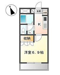 静岡県富士宮市野中町の賃貸アパートの間取り