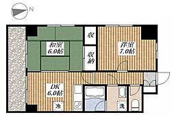 東京都昭島市昭和町2丁目の賃貸マンションの間取り