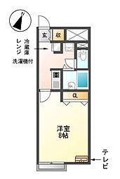 愛知県名古屋市瑞穂区彌富町字月見ケ岡の賃貸アパートの間取り