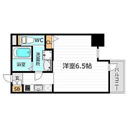 Osaka Metro谷町線 谷町四丁目駅 徒歩8分の賃貸マンション 7階1Kの間取り