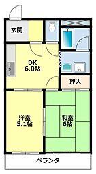 愛知県豊田市住吉町丸山の賃貸アパートの間取り