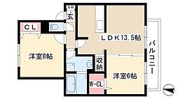愛知県尾張旭市東印場町3丁目の賃貸アパートの間取り