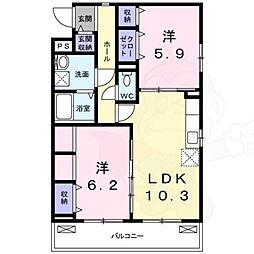 阪神なんば線 九条駅 徒歩6分の賃貸アパート 2階2LDKの間取り