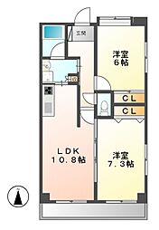 愛知県名古屋市中村区新富町4丁目の賃貸マンションの間取り