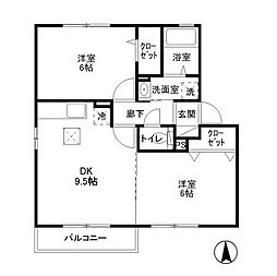 東京都武蔵村山市伊奈平5丁目の賃貸アパートの間取り