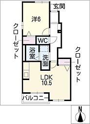 愛知県北名古屋市鍜治ケ一色池田の賃貸アパートの間取り
