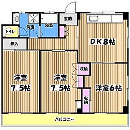 東京都羽村市神明台2丁目の賃貸マンションの間取り