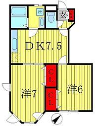 千葉県松戸市八ヶ崎3丁目の賃貸アパートの間取り