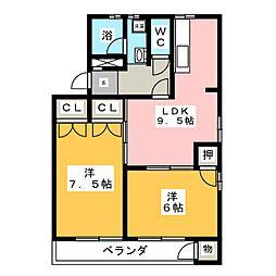 園山スリーハウス[2階]の間取り