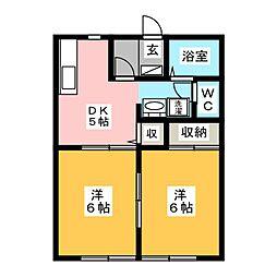 サンガーデン本郷台弐番館 1階2DKの間取り