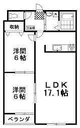 ラフィーネ壱番館 2階2LDKの間取り
