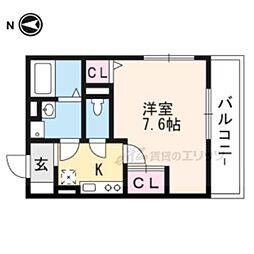 京阪本線 龍谷大前深草駅 徒歩10分の賃貸アパート 2階1Kの間取り