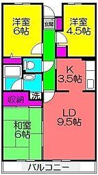 ルシーダ勝田台[407号室]の間取り
