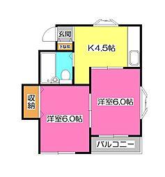 シャルマンハイツ[2階]の間取り