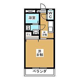 下東野コーポI 2階1Kの間取り