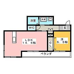 岡山県岡山市中区桜橋4丁目の賃貸マンションの間取り