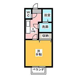 愛知県北名古屋市野崎山神の賃貸アパートの間取り