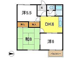 兵庫県加古川市平岡町山之上の賃貸アパートの間取り