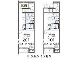 兵庫県三木市自由が丘本町2丁目の賃貸アパートの間取り