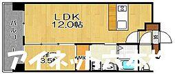 福岡市地下鉄七隈線 野芥駅 徒歩5分の賃貸マンション 2階1LDKの間取り