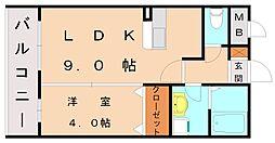 プレステージ赤間[2階]の間取り
