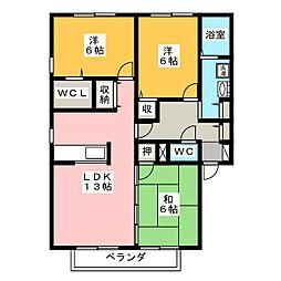 静岡県浜松市中区住吉3丁目の賃貸アパートの間取り