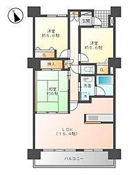 ロイヤルマンション長良川西[7階]の間取り