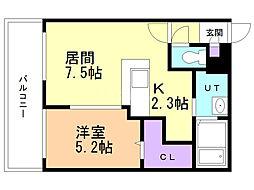 サンコート円山ガーデンヒルズ 8階1DKの間取り