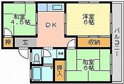 岡山県岡山市中区国府市場の賃貸アパートの間取り